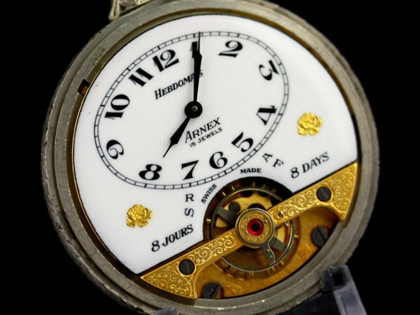 ヘブドマスのアンティーク8日巻き懐中時計-P2077-12