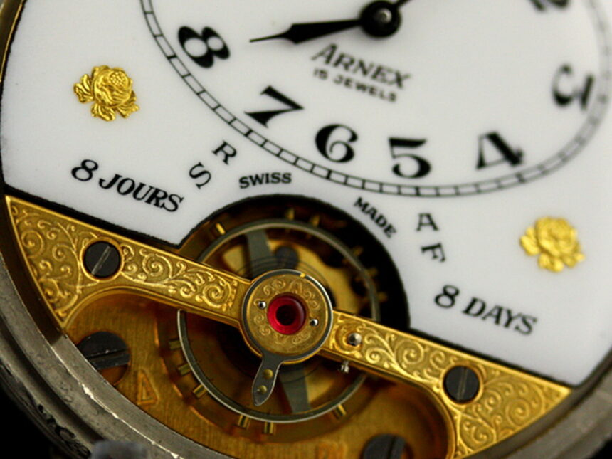 ヘブドマスのアンティーク8日巻き懐中時計-P2077-4