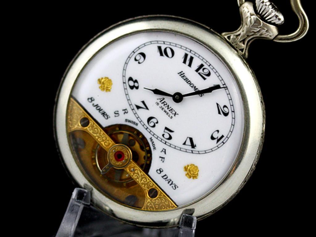 ヘブドマスのアンティーク8日巻き懐中時計-P2077-9