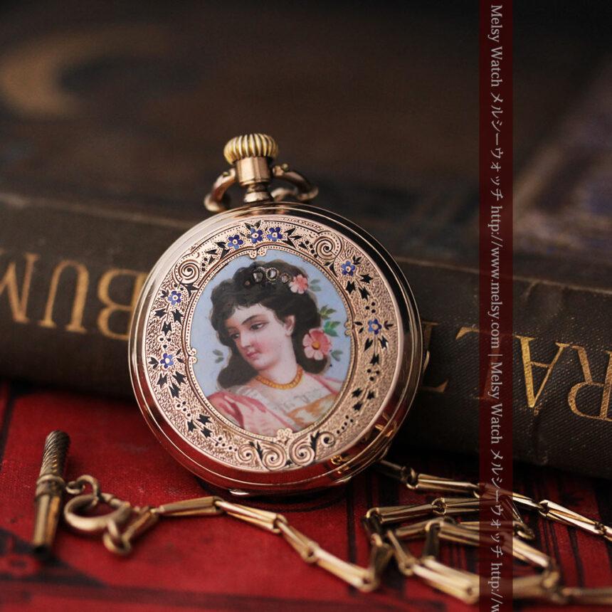 ジュールズマシイのアンティーク金無垢懐中時計・エナメル装飾-P2105-1