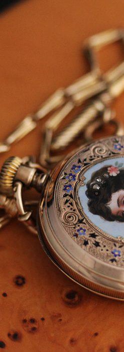 ジュールズマシイのアンティーク金無垢懐中時計・エナメル装飾-P2105-10