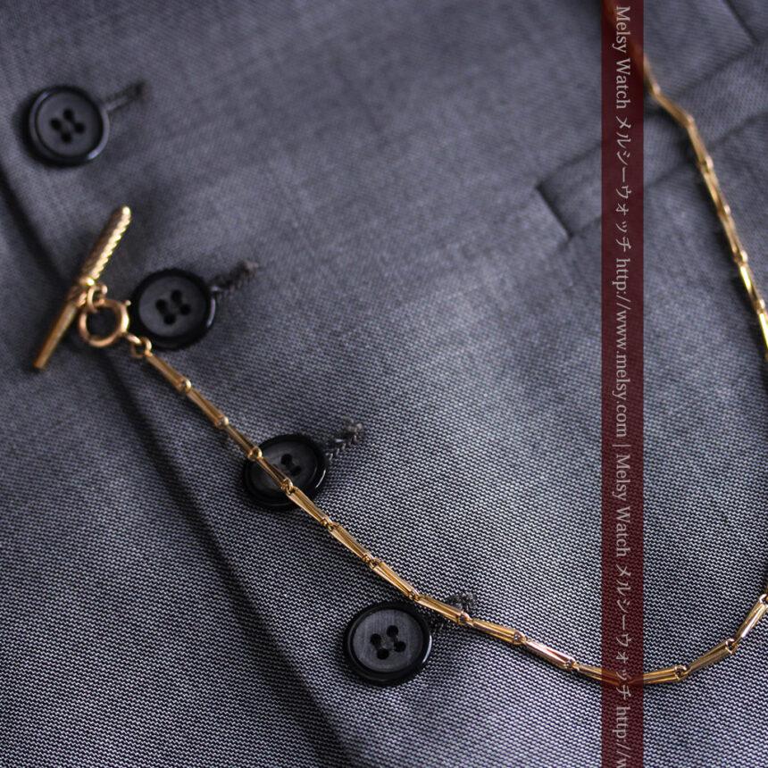 ジュールズマシイのアンティーク金無垢懐中時計・エナメル装飾-P2105-12