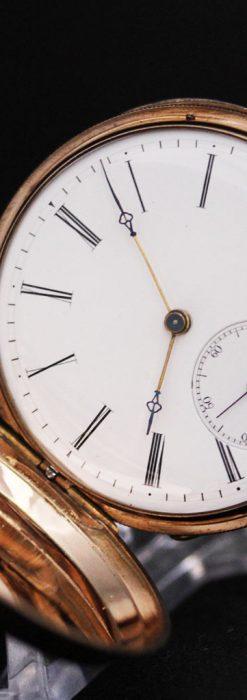 ジュールズマシイのアンティーク金無垢懐中時計・エナメル装飾-P2105-14