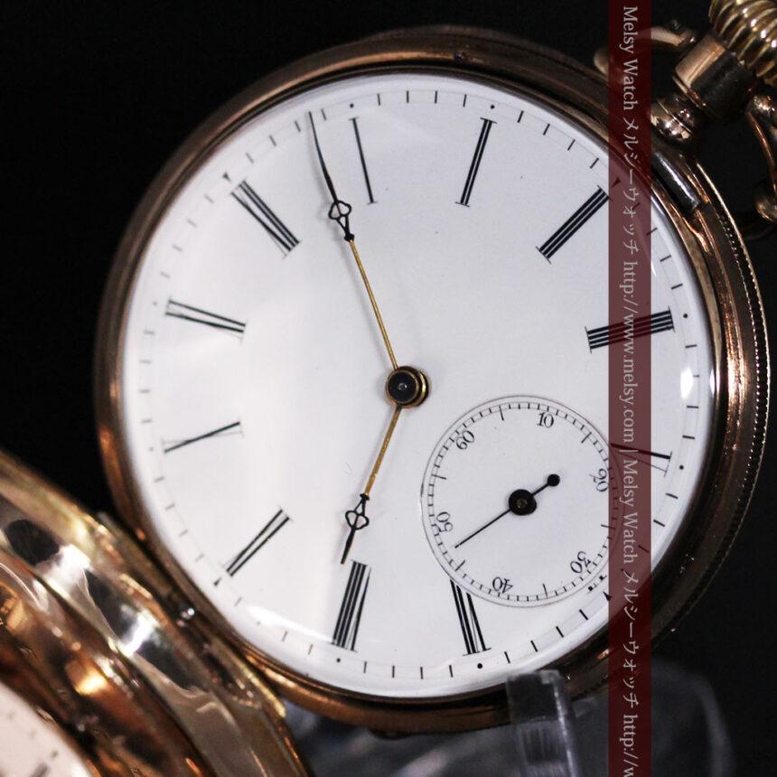 ジュールズマシイのアンティーク金無垢懐中時計・エナメル装飾-P2105-15