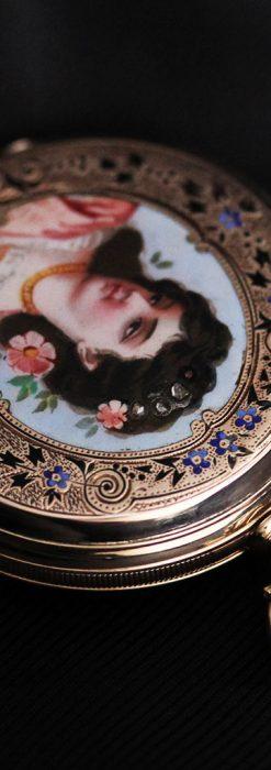 ジュールズマシイのアンティーク金無垢懐中時計・エナメル装飾-P2105-16