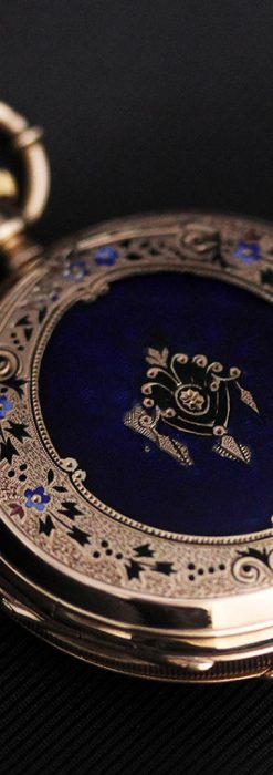 ジュールズマシイのアンティーク金無垢懐中時計・エナメル装飾-P2105-17