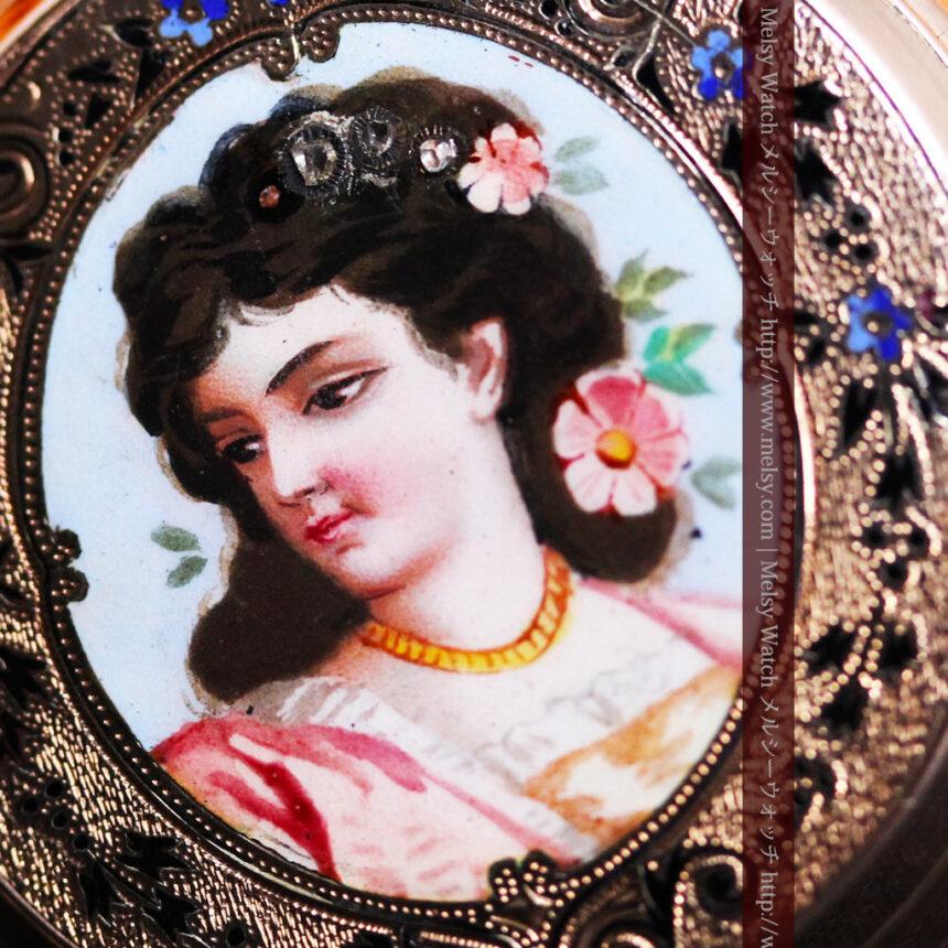 ジュールズマシイのアンティーク金無垢懐中時計・エナメル装飾-P2105-19