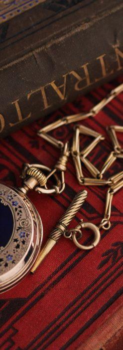 ジュールズマシイのアンティーク金無垢懐中時計・エナメル装飾-P2105-2
