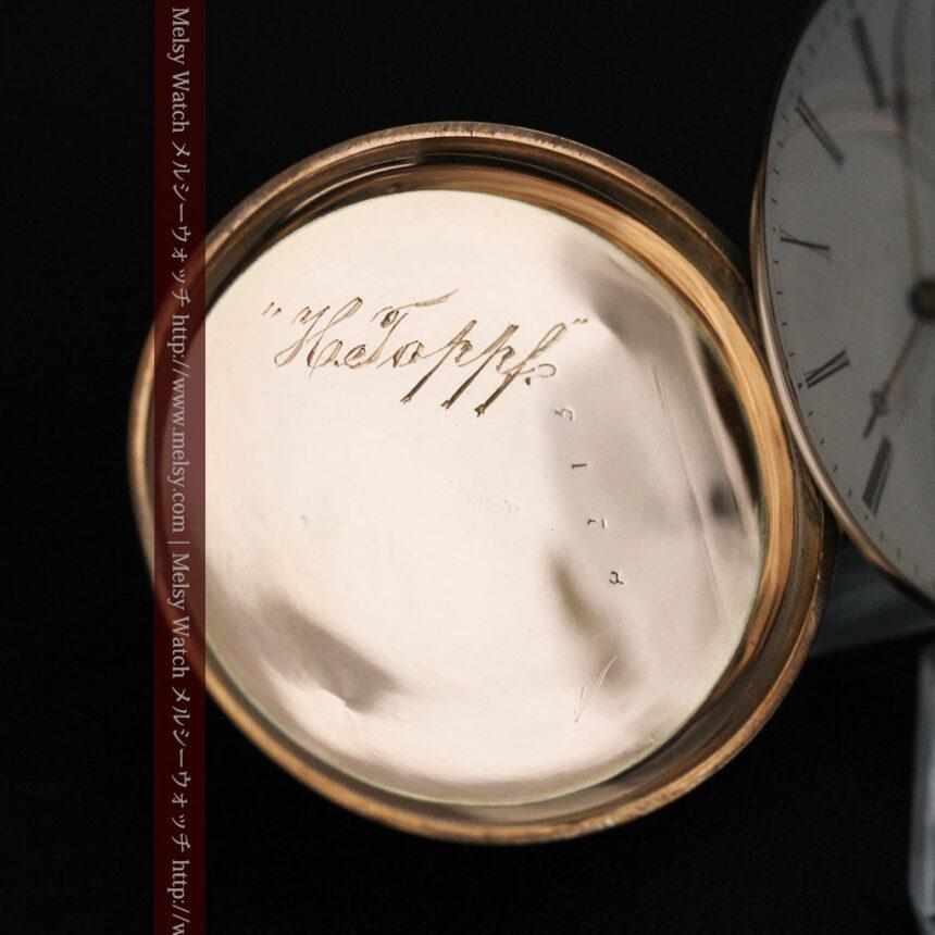ジュールズマシイのアンティーク金無垢懐中時計・エナメル装飾-P2105-20