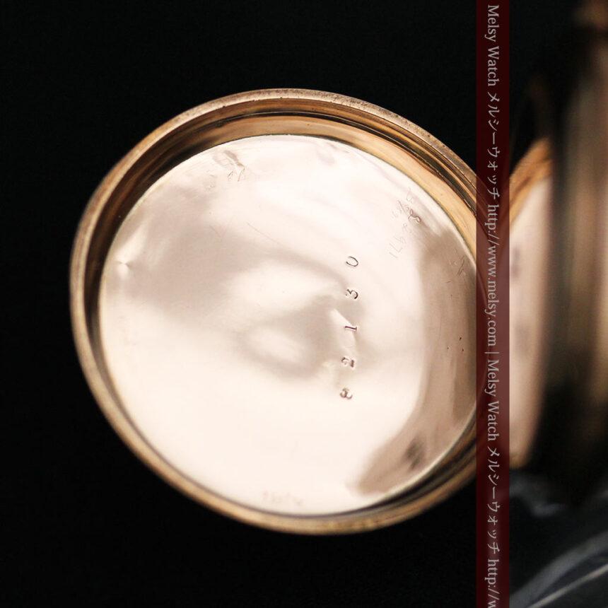 ジュールズマシイのアンティーク金無垢懐中時計・エナメル装飾-P2105-21