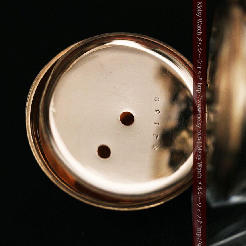 ジュールズマシイのアンティーク金無垢懐中時計・エナメル装飾-P2105-23