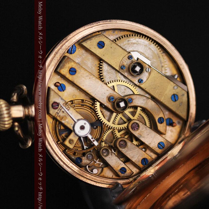 ジュールズマシイのアンティーク金無垢懐中時計・エナメル装飾-P2105-24