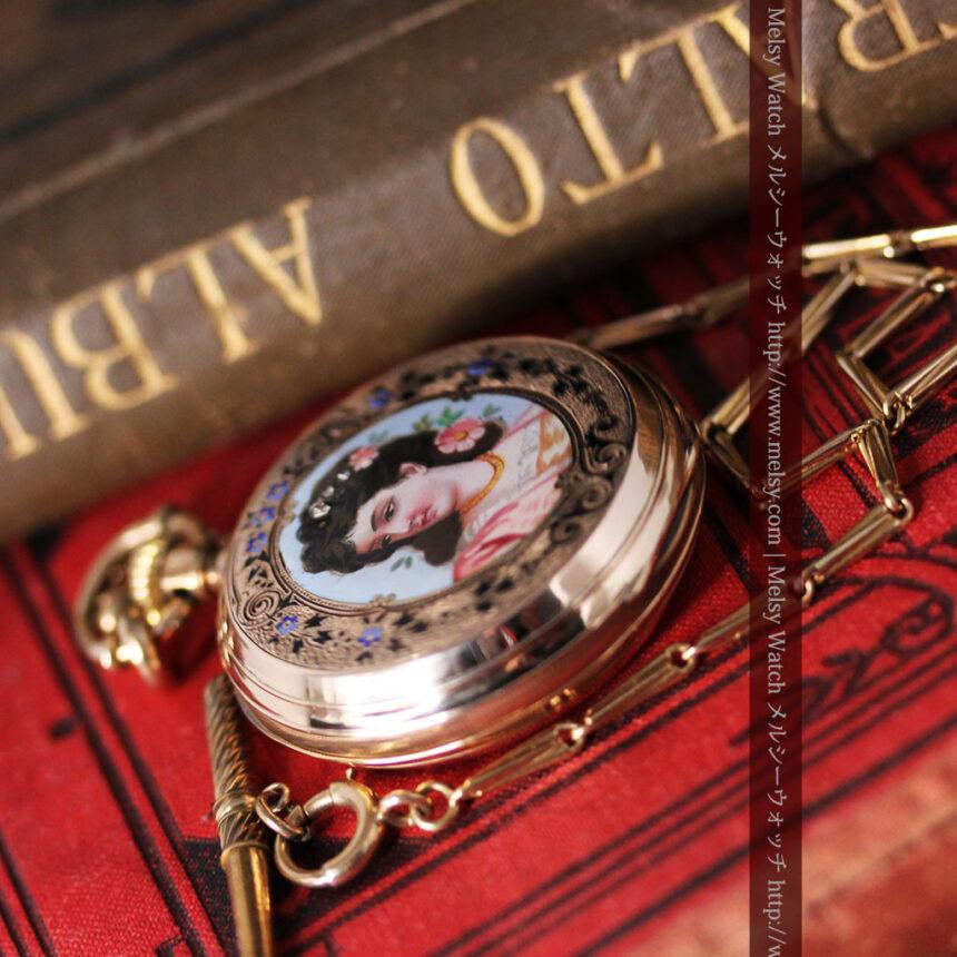 ジュールズマシイのアンティーク金無垢懐中時計・エナメル装飾-P2105-3