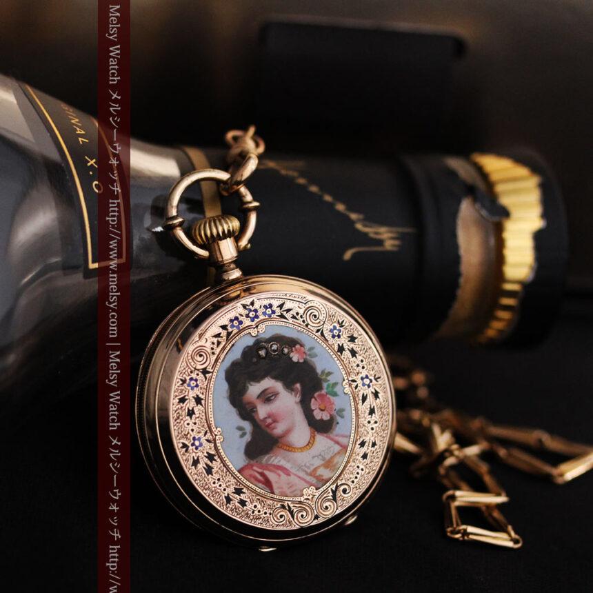 ジュールズマシイのアンティーク金無垢懐中時計・エナメル装飾-P2105-4
