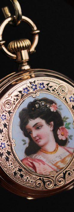 ジュールズマシイのアンティーク金無垢懐中時計・エナメル装飾-P2105-5