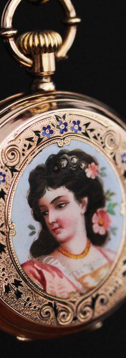 ジュールズマシイのアンティーク金無垢懐中時計・エナメル装飾-P2105-6