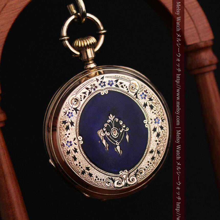 ジュールズマシイのアンティーク金無垢懐中時計・エナメル装飾-P2105-7