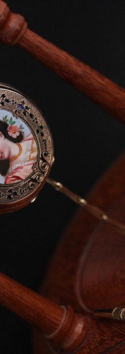 ジュールズマシイのアンティーク金無垢懐中時計・エナメル装飾-P2105-8