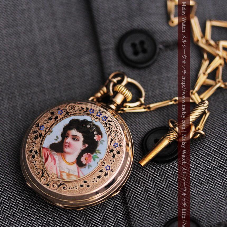 ジュールズマシイのアンティーク金無垢懐中時計・エナメル装飾-P2105-9
