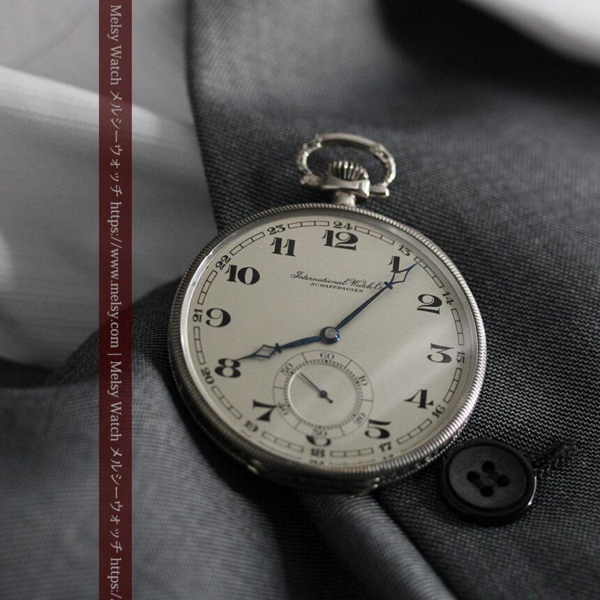 IWC 艶のある上品な銀無垢アンティーク懐中時計 【1927年頃】-P2140-2