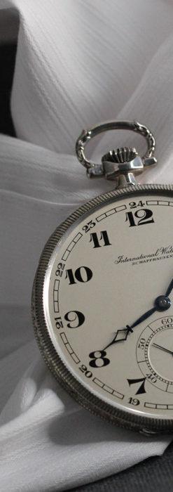 IWC 艶のある上品な銀無垢アンティーク懐中時計 【1927年頃】-P2140-3