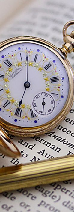ウォルサムの絢爛なアンティーク金無垢懐中時計 【1896年製】-P2167-2