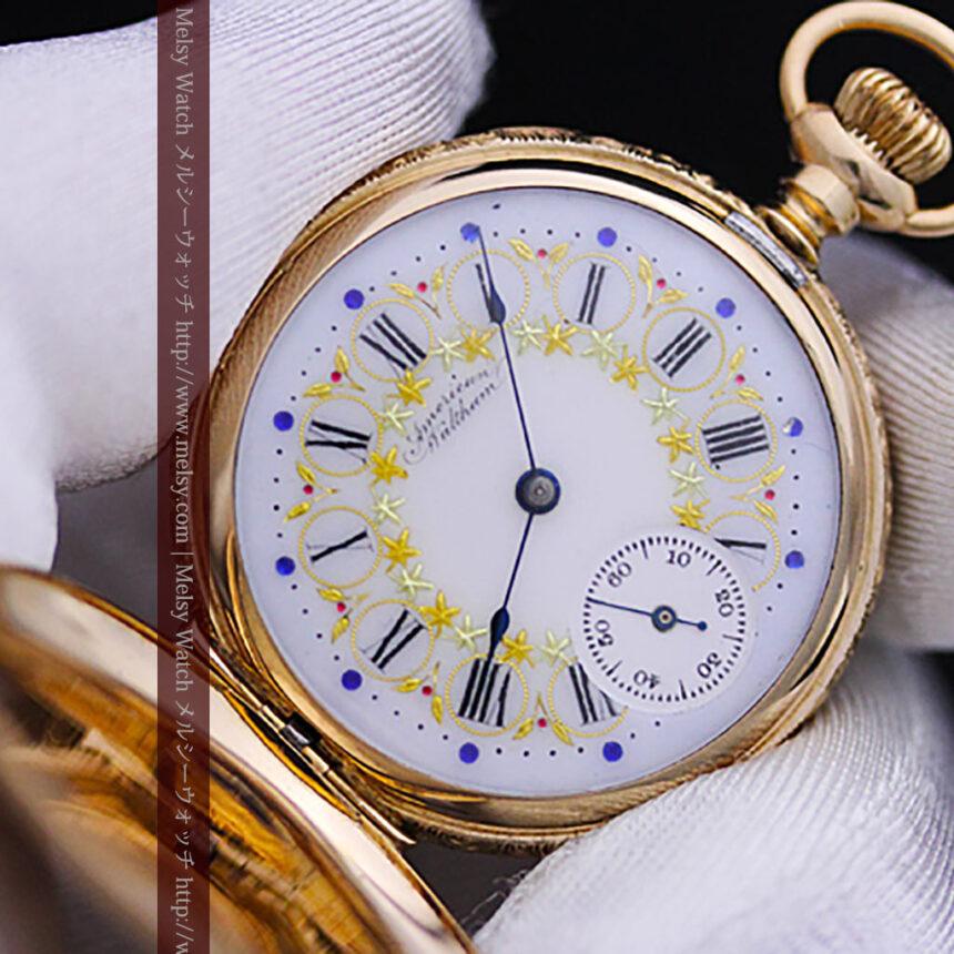 ウォルサムの絢爛なアンティーク金無垢懐中時計 【1896年製】-P2167-4