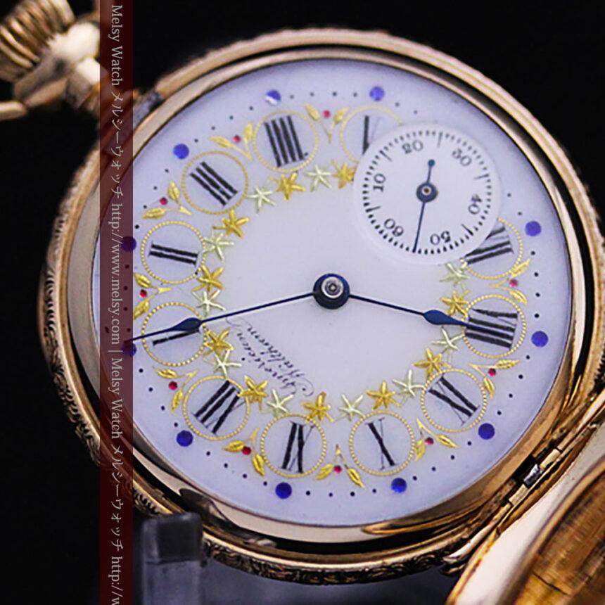 ウォルサムの絢爛なアンティーク金無垢懐中時計 【1896年製】-P2167-6