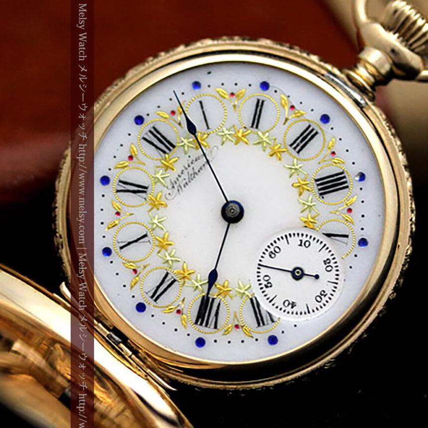 ウォルサムの絢爛なアンティーク金無垢懐中時計 【1896年製】-P2167-8
