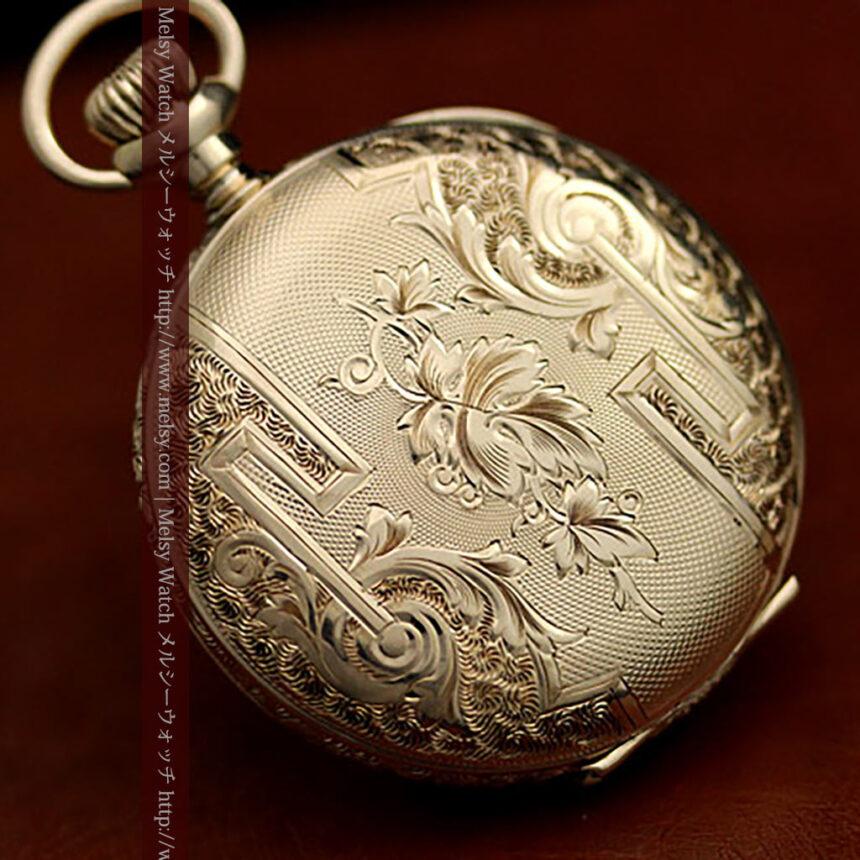 ウォルサムの絢爛なアンティーク金無垢懐中時計 【1896年製】-P2167-9