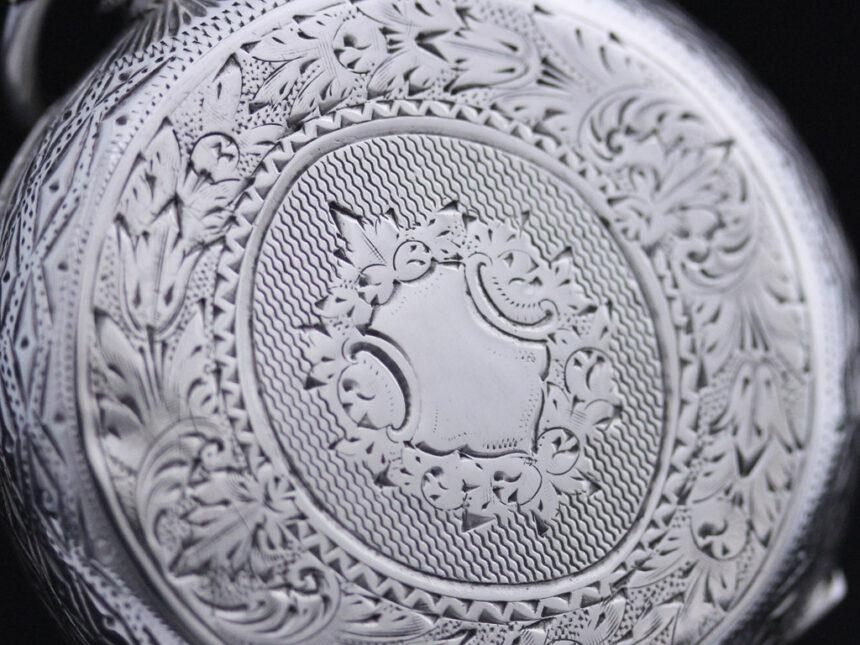 スイス製の銀無垢アンティーク懐中時計-P2200-10