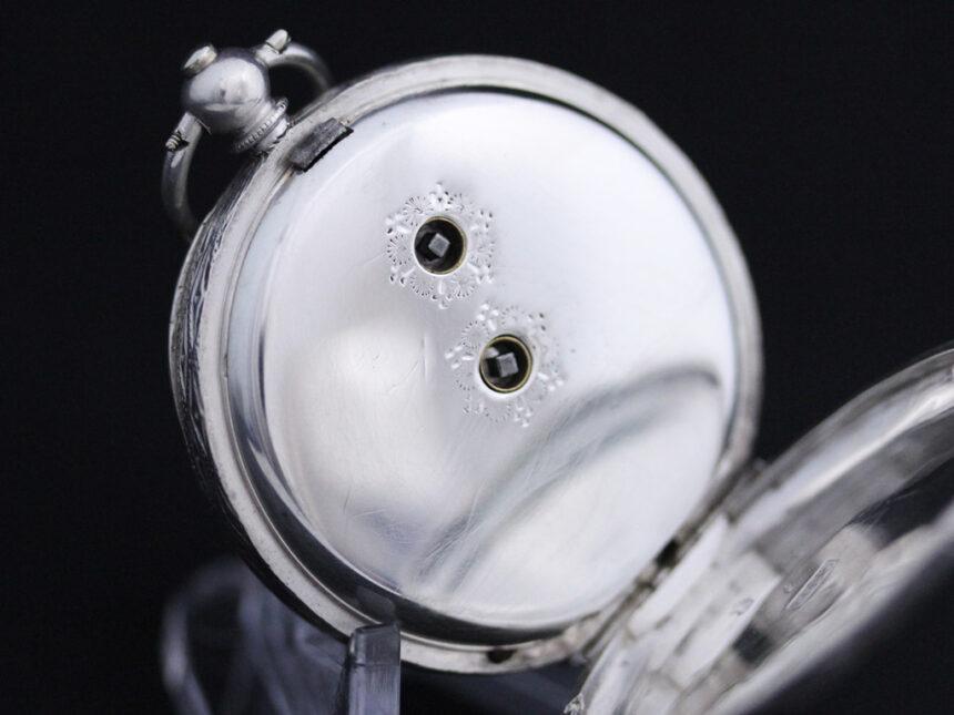 スイス製の銀無垢アンティーク懐中時計-P2200-15