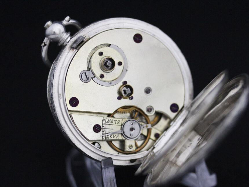 スイス製の銀無垢アンティーク懐中時計-P2200-17