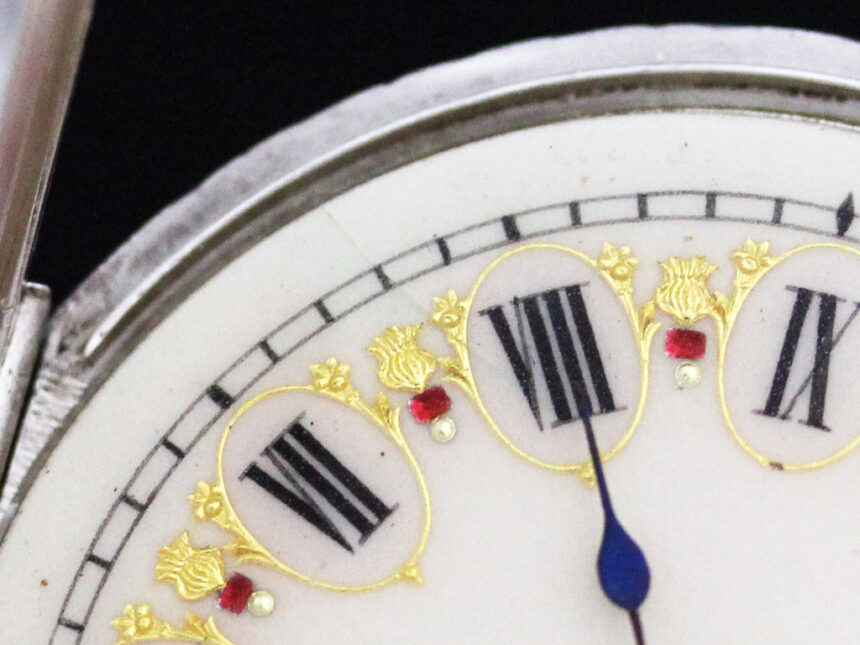スイス製の銀無垢アンティーク懐中時計-P2200-18