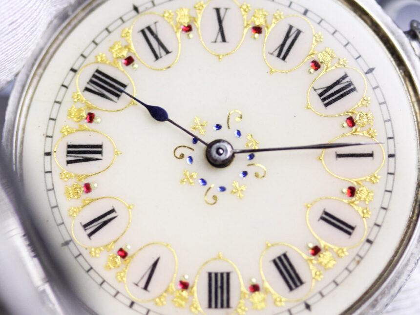 スイス製の銀無垢アンティーク懐中時計-P2200-2