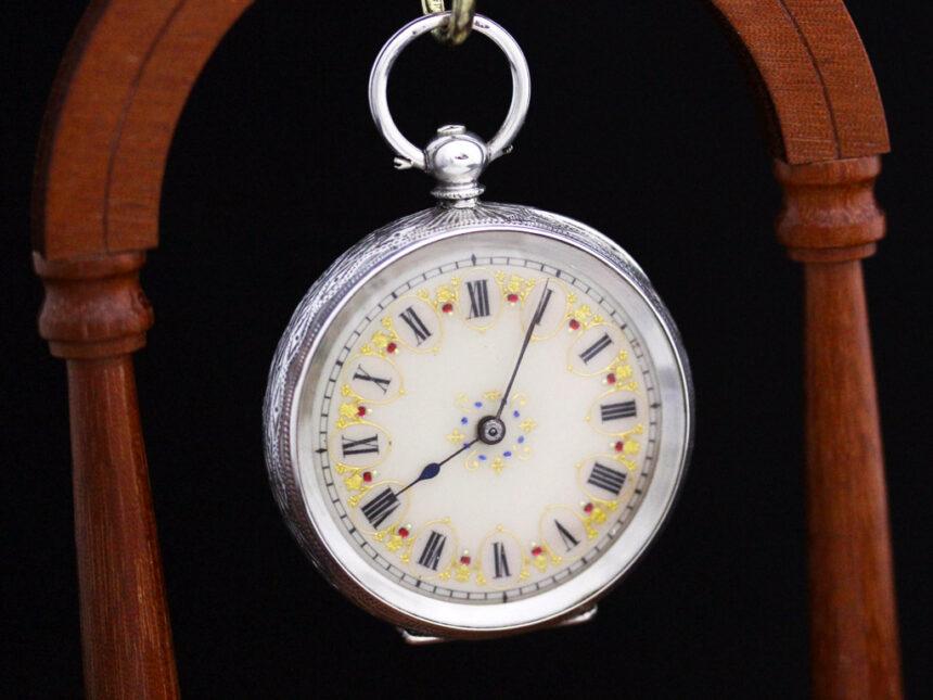 スイス製の銀無垢アンティーク懐中時計-P2200-4
