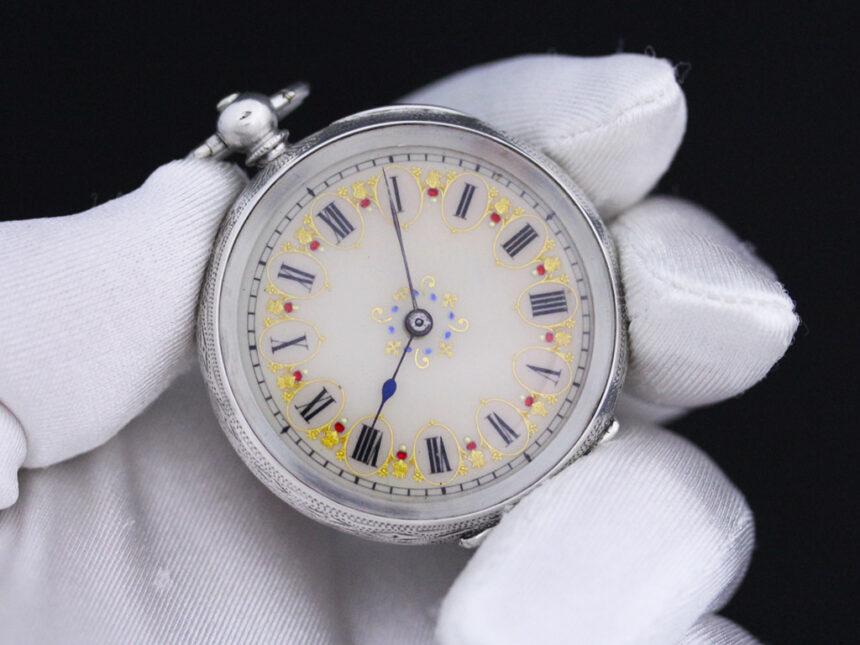 スイス製の銀無垢アンティーク懐中時計-P2200-5