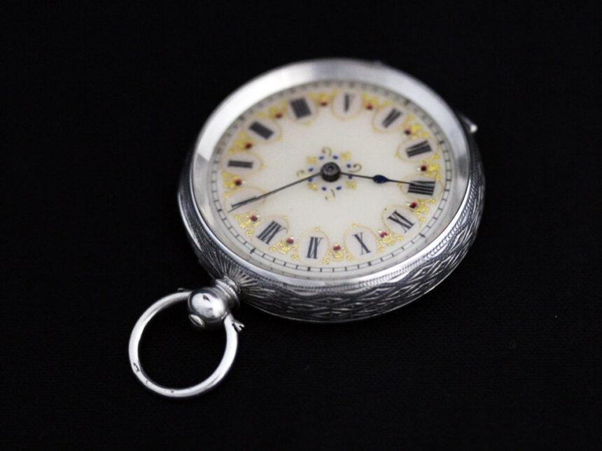スイス製の銀無垢アンティーク懐中時計-P2200-6