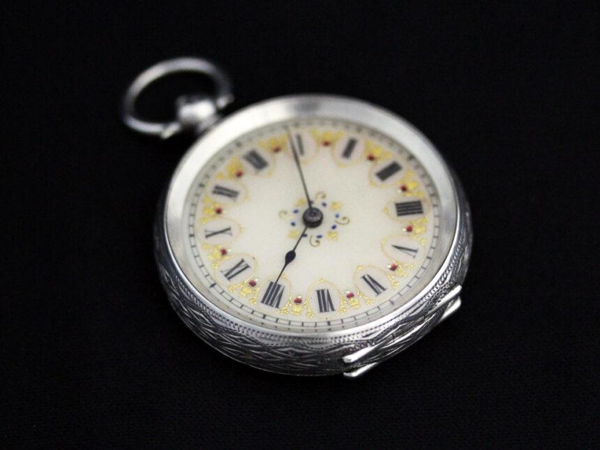 スイス製の銀無垢アンティーク懐中時計-P2200-7