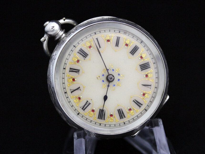 スイス製の銀無垢アンティーク懐中時計-P2200-8