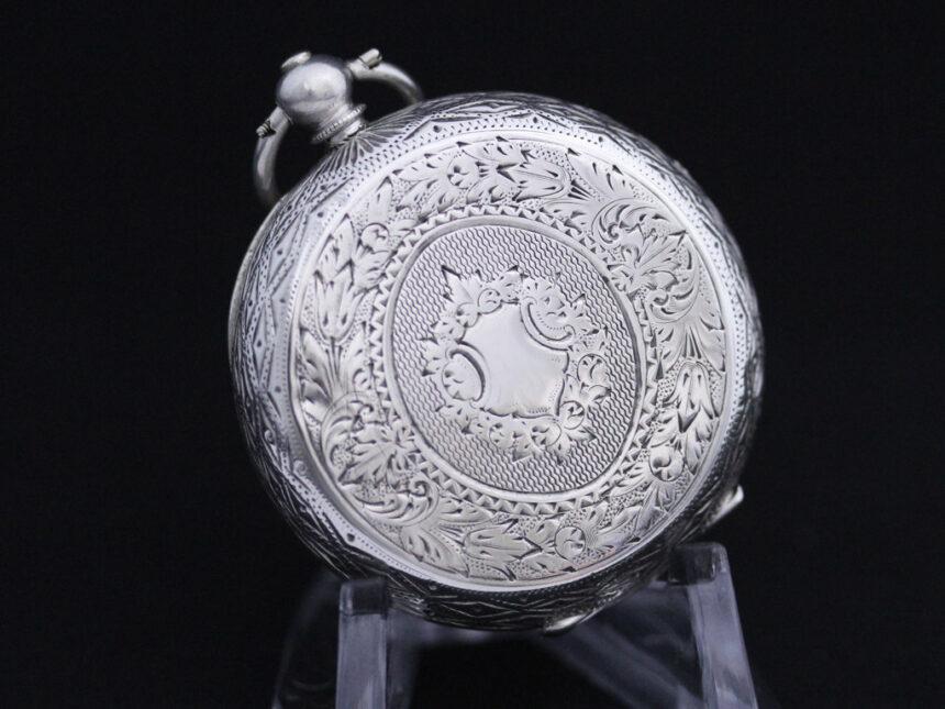 スイス製の銀無垢アンティーク懐中時計-P2200-9