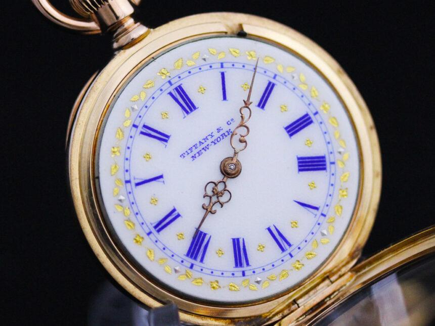 watch 40cce fdb46 ティファニー 18金無垢アンティーク懐中時計 金銀の装飾と青文字 【1890年頃】