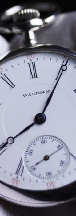 ウォルサムの銀無垢アンティーク懐中時計-P2219-1