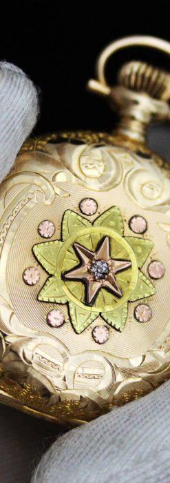 ウォルサムの金無垢アンティーク懐中時計-P2247-8