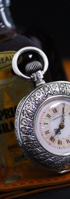 ロンジンの銀無垢アンティーク懐中時計-P2248-1
