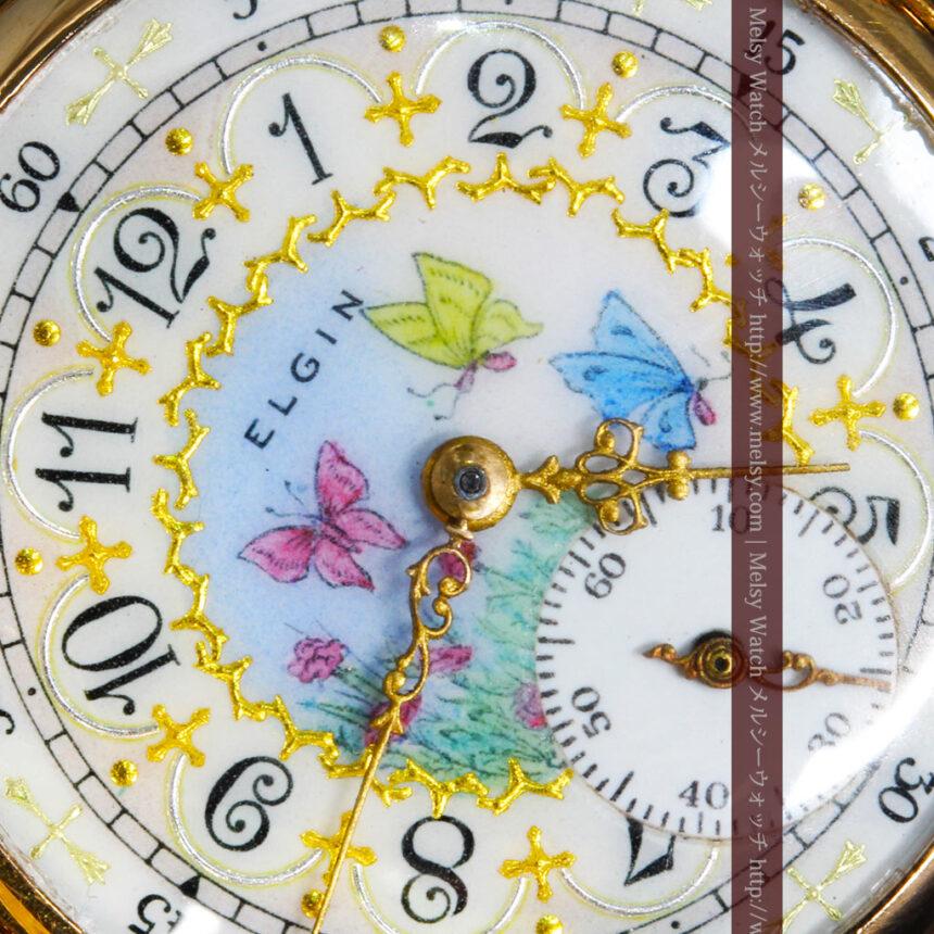 エルジンの金無垢懐中時計・花と蝶-P2250-12