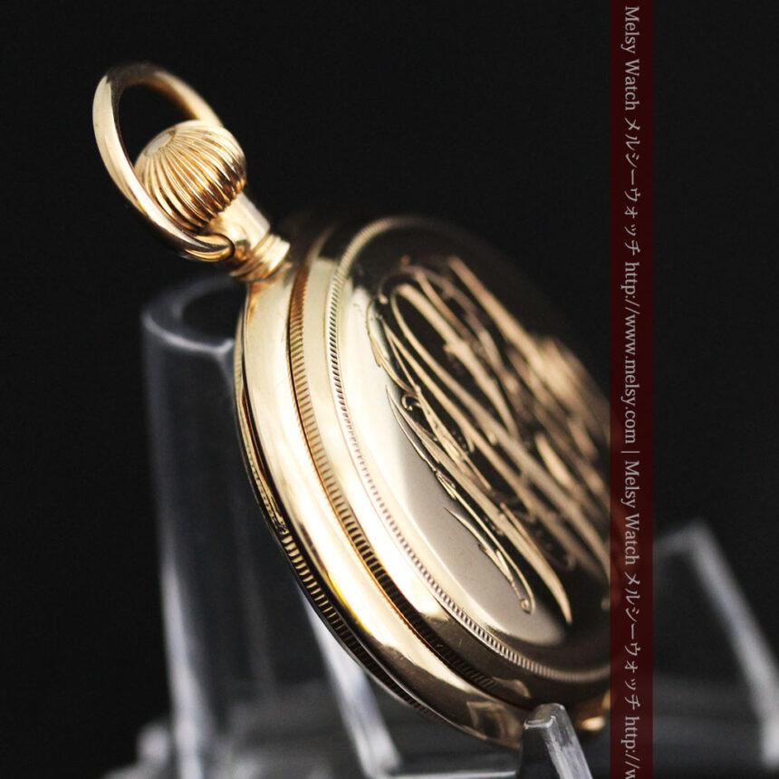 エルジンの金無垢懐中時計・花と蝶-P2250-14