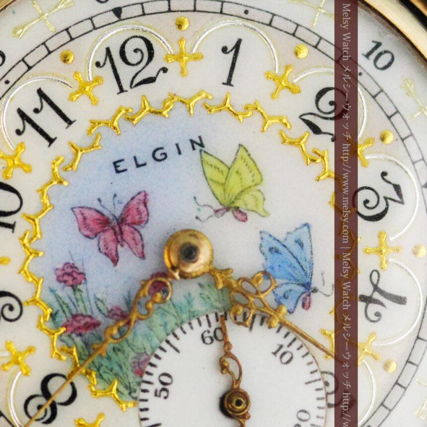 エルジンの金無垢懐中時計・花と蝶-P2250-2
