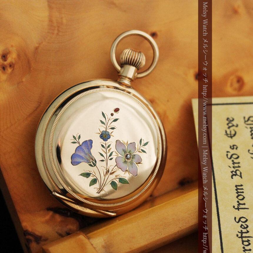 エルジンの金無垢懐中時計・花と蝶-P2250-3