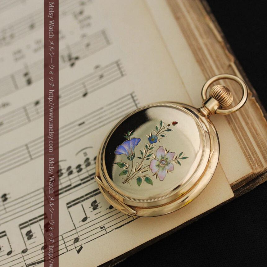エルジンの金無垢懐中時計・花と蝶-P2250-5